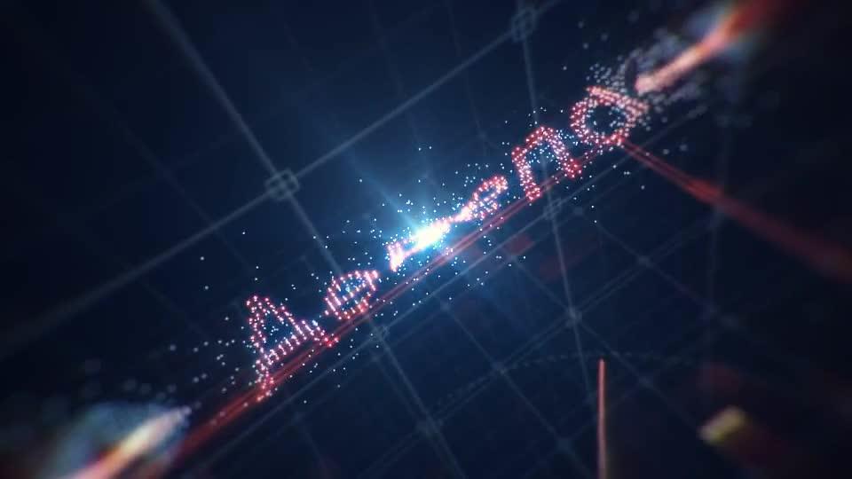 在网格空间中伴随着粒子颗粒特效演绎的科技标志m00502插图