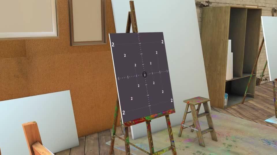 画室的画板上水墨形式展示照片.m00518插图