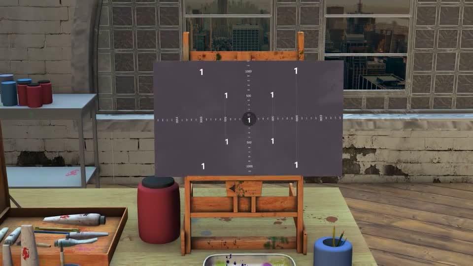 画室的画板上水墨形式展示照片.m00518插图1